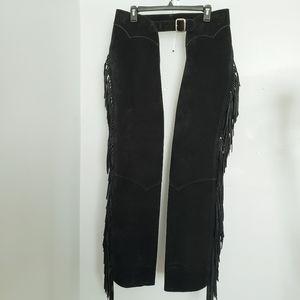 US Chap & Saddlebag Men's Black Fringed Pants